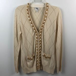 Milly Cream Chain Link Sweater Cardigan